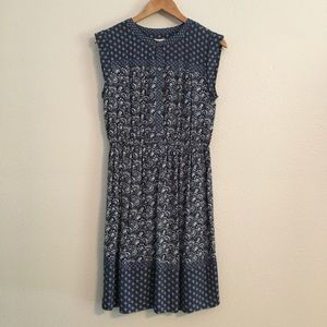 Loft Blue Damask Blue Sleeveless Dress Size Small